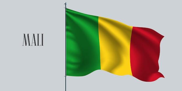 Mali agitando bandeira no mastro da bandeira Vetor Premium
