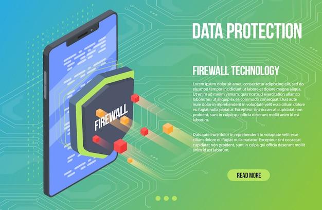 Malware de segurança de verificação de vírus. ilustração em vetor plana isométrica escudo guarda. crime cibernético e proteção de dados. proteção de banco de dados e smartphone. Vetor Premium