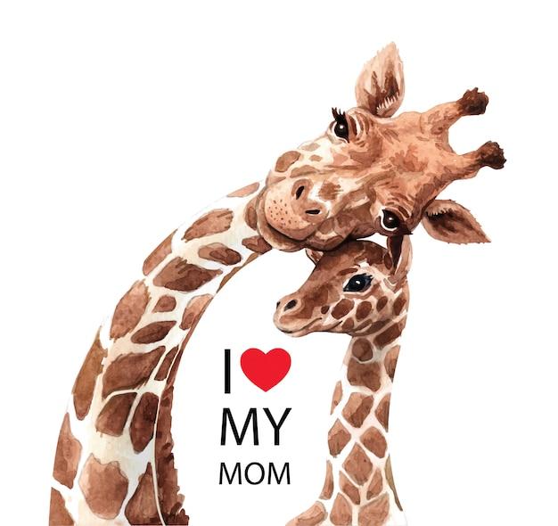 Mamã bonito e bebê do girafa na aquarela. Vetor Premium