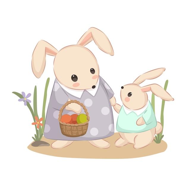 Mama coelho e bebê coelho ilustração para decoração de berçário Vetor Premium