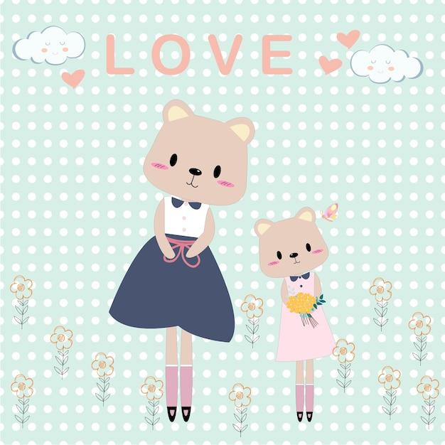 Mamãe fofo urso de pelúcia e cartão dos desenhos animados de menina Vetor Premium