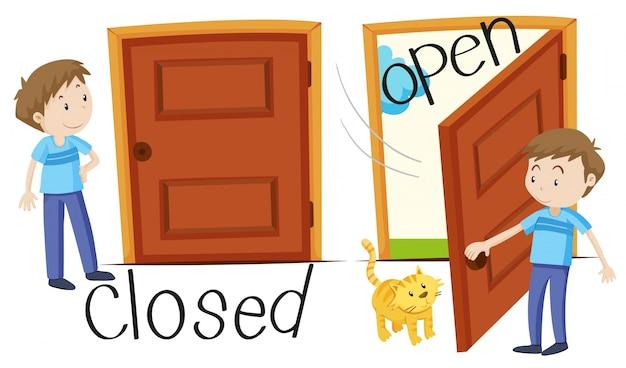 Man por porta fechada e aberta Vetor grátis