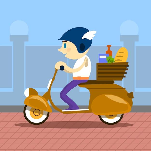 Man ride motorcycle scooter delivery service retro Vetor Premium