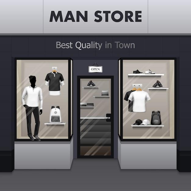 Man sportswear store vista realista da rua Vetor grátis