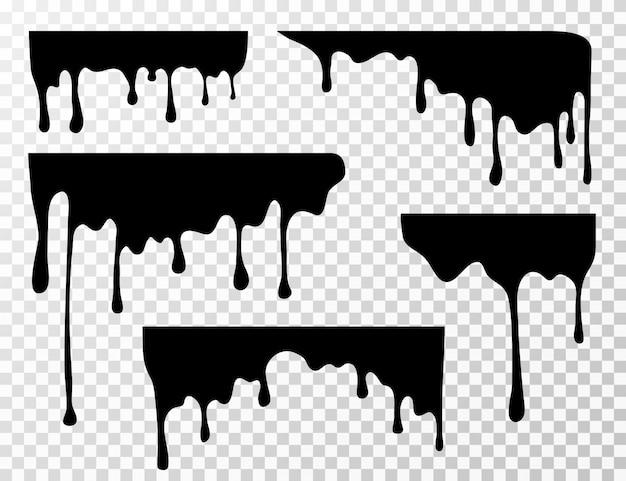 Mancha de óleo preto gotejamento, molho ou pintura silhuetas atuais isoladas Vetor Premium
