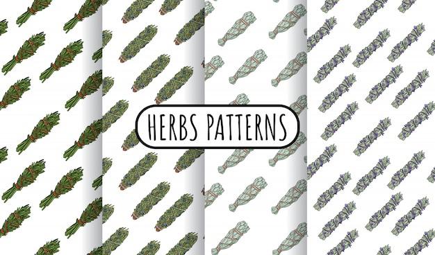 Mancha de sálvia varas conjunto de padrões sem emenda boho desenhados à mão. coleção de azulejos de pacote de ervas Vetor Premium
