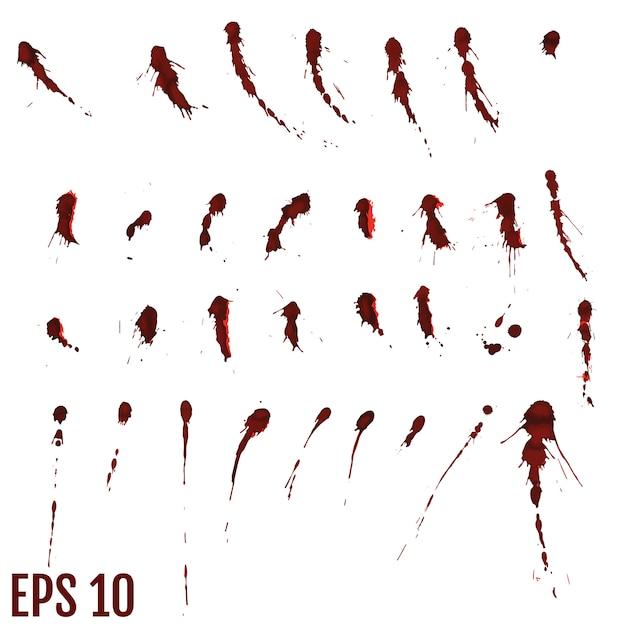 Mancha de sangue, gotas vermelhas, splatter arte pintada Vetor Premium