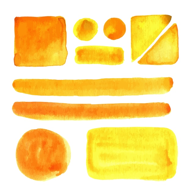 Manchas de aquarela, isoladas. elementos de design vetorial. pinte tinta. Vetor Premium