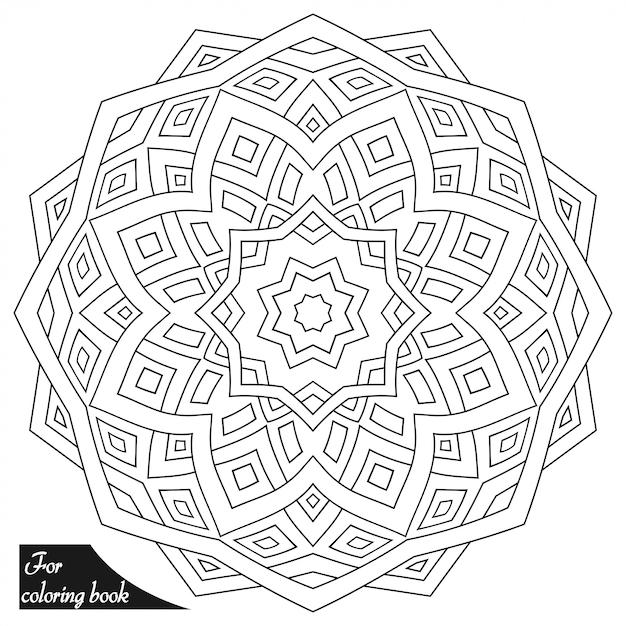 Mandala circular em estilo oriental étnico. esboço doodle mão desenhar ilustração. página do livro para colorir. Vetor Premium