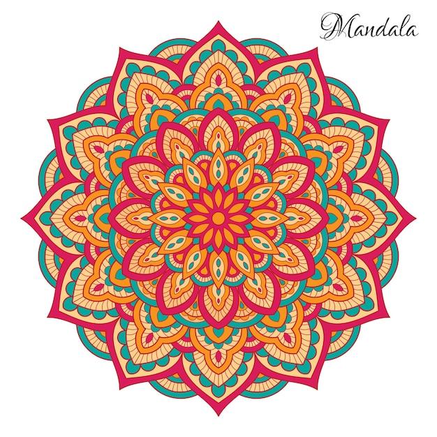 Mandala colorida com formas florais Vetor Premium