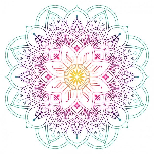 Mandala colorida decorativa no pêssego e nas cores verdes. linhas de desenho. motivos vegetal Vetor Premium