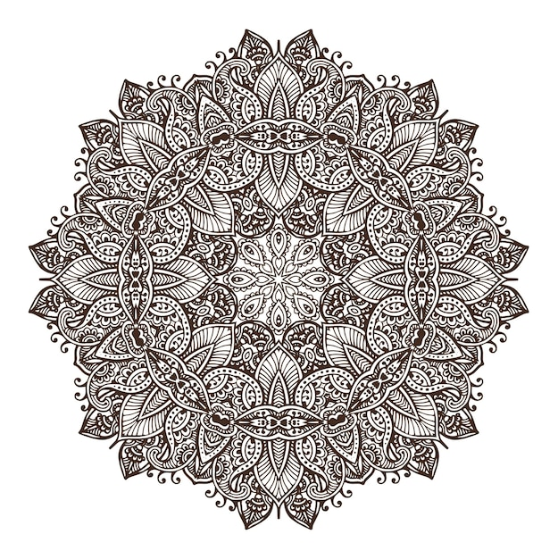 Mandala de desenho de renda redonda abstrata, elemento decorativo Vetor Premium