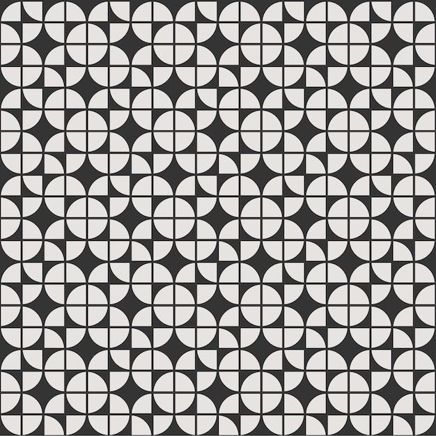 Mandala de flor de fundo padrão geométrico sem costura com preto e branco Vetor Premium