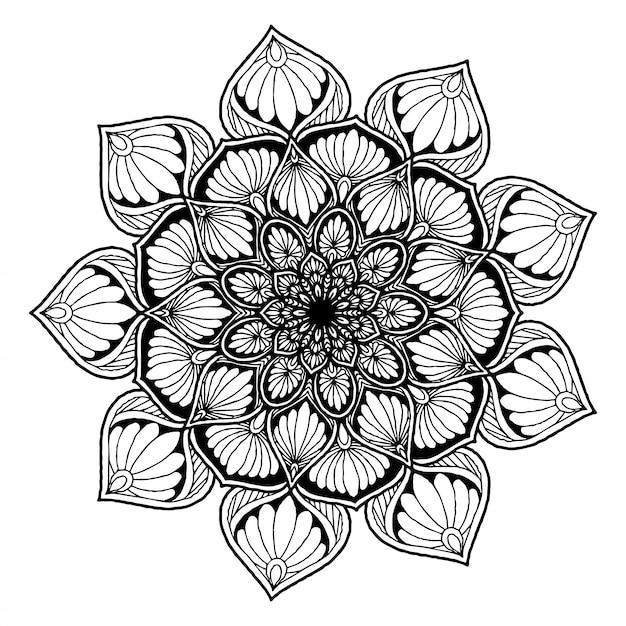 Mandala de flor redonda para tatuagem, henna. elementos decorativos vintage. Vetor Premium