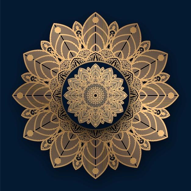 Mandala de luxo com padrão islâmico dourado Vetor Premium