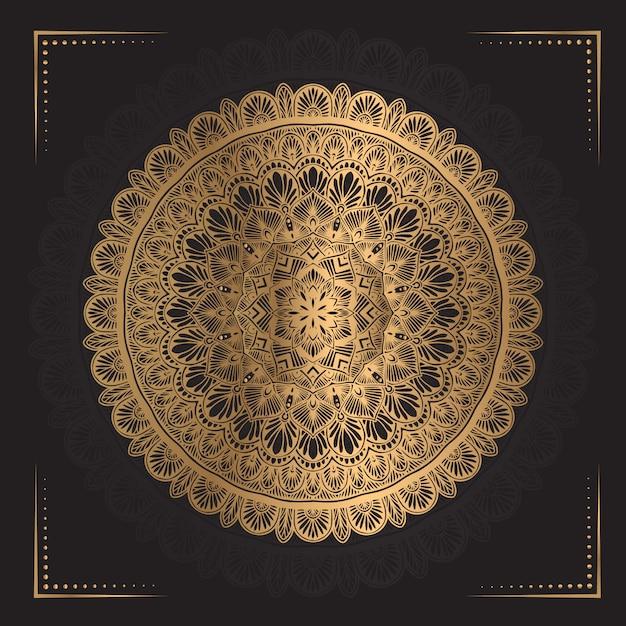 Mandala de luxo na cor dourada Vetor Premium