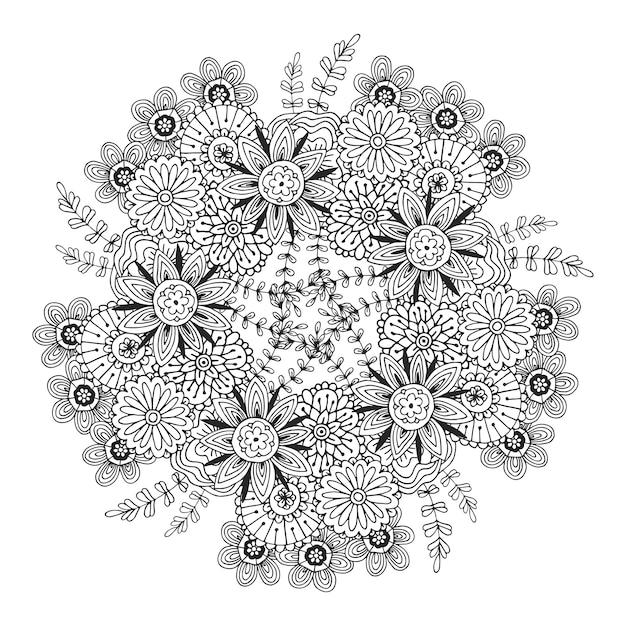Mandala de vetores com padrão de flores. adulto página para colorir livro. design floral para decoração. Vetor Premium
