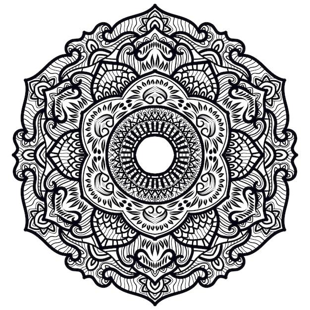 Mandala decorativa art Vetor Premium
