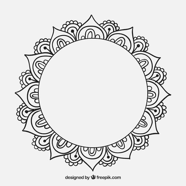 Mandala decorativa desenhada mão Vetor grátis
