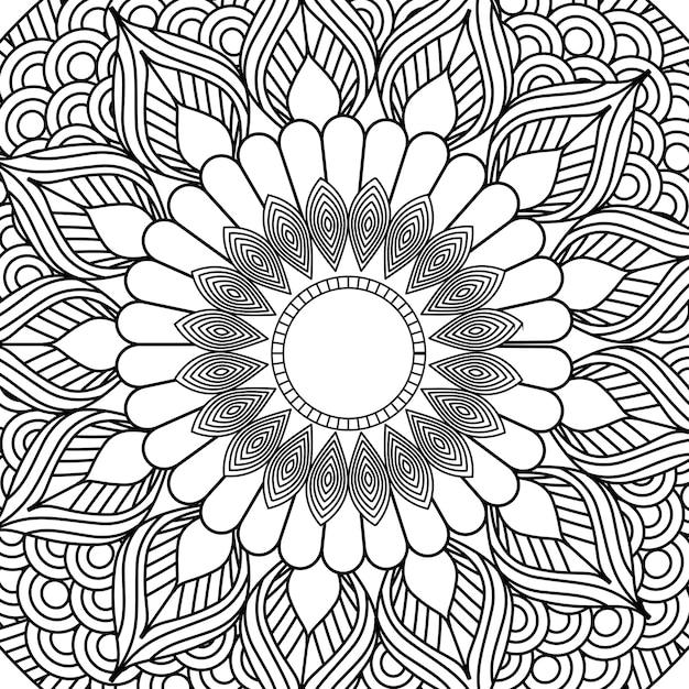 Mandala decorativa elemento étnico adulto design de colorir Vetor Premium