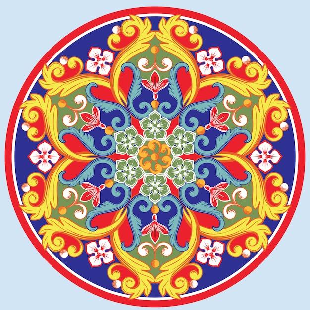 Mandala decorativa redonda étnica colorida. desenho arabesco oriental Vetor Premium