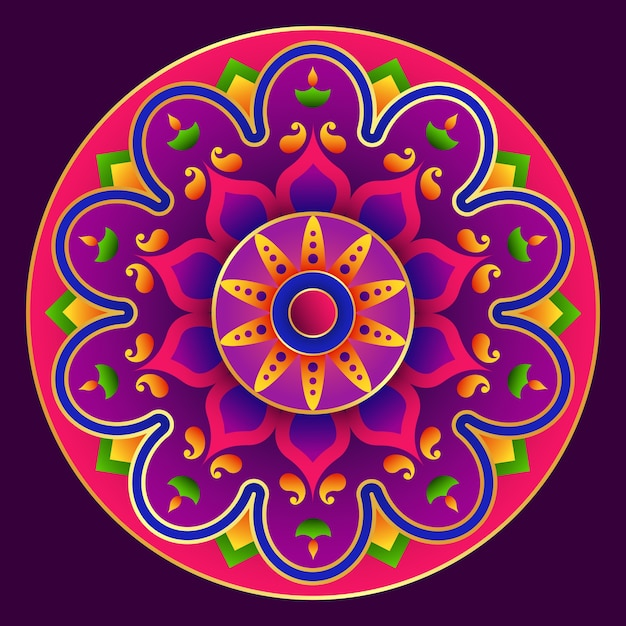 Mandala design, happy diwali rangoli background Vetor Premium