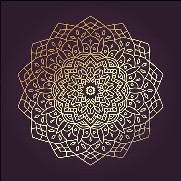 Mandala dourada de lineart Vetor Premium