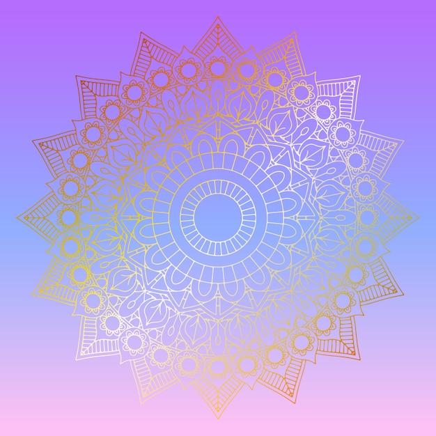 Mandala dourada em fundo gradiente pastel Vetor grátis
