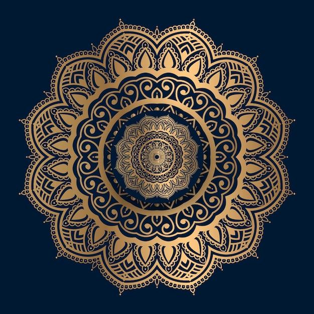 Mandala dourada padrão islâmico Vetor Premium