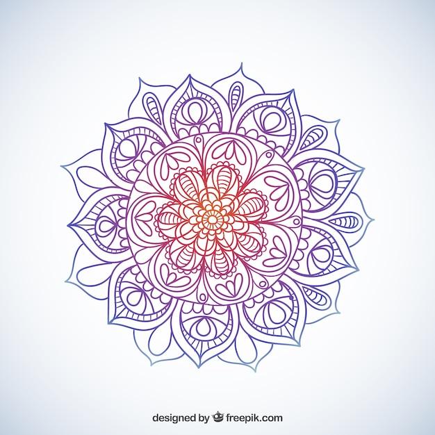 Mandala esboçado colorido Vetor grátis