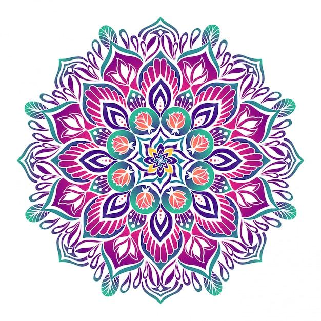 Mandala estilizada feita em cores brilhantes Vetor Premium