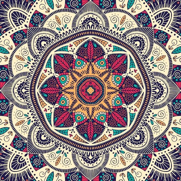 Mandala étnica floral ornamental colorida Vetor Premium