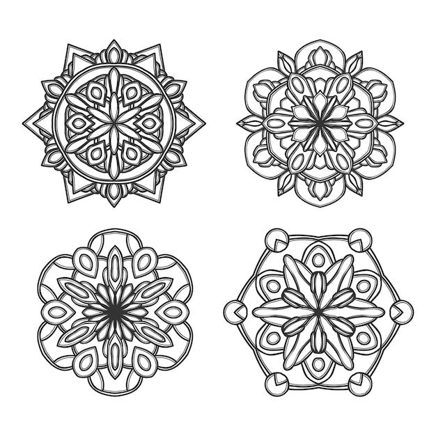 Mandala flor ilustração Vetor Premium