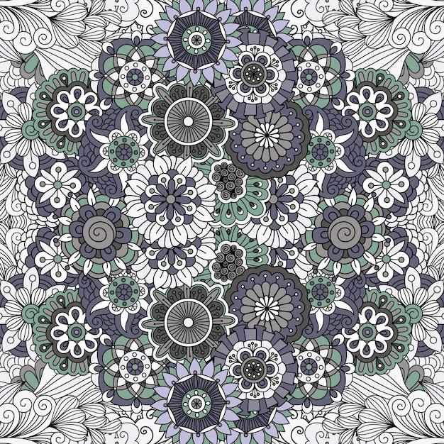 Mandala floral como padrão Vetor Premium