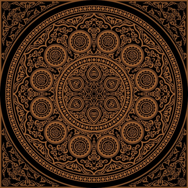 Mandala indiana do henna - ornamento redondo Vetor Premium