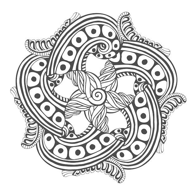 Mandala para páginas para colorir livro. desenho de tatuagem de padrão de ornamento vetorial Vetor Premium