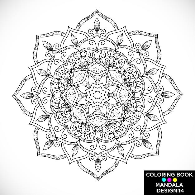 Mandala preta para colorir livro Vetor grátis