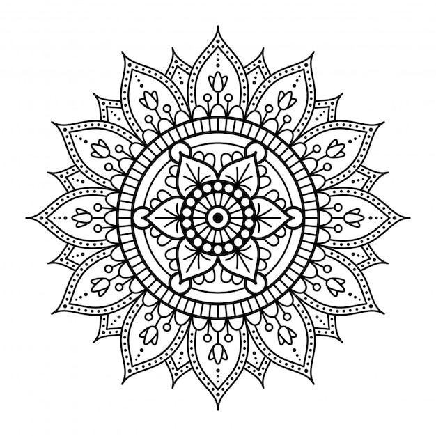 Mandala redonda no fundo branco Vetor Premium