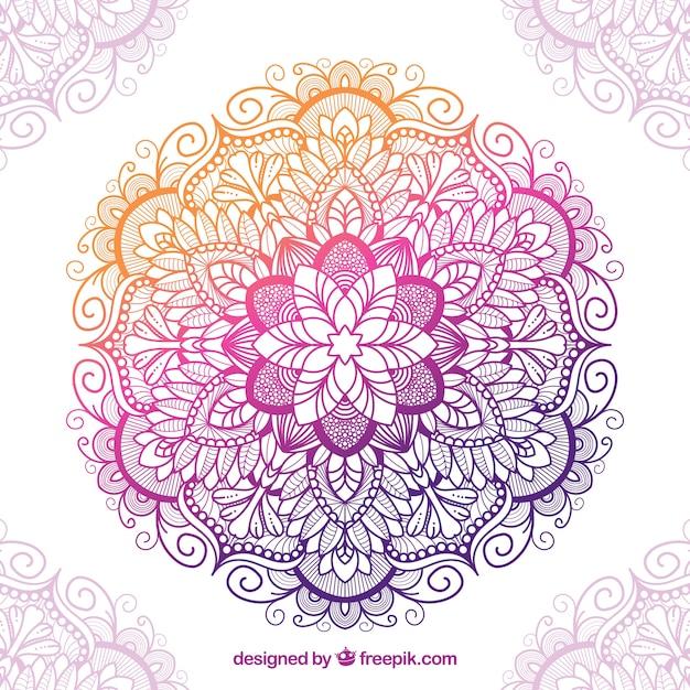 Mandala tradicional com estilo colorido Vetor grátis