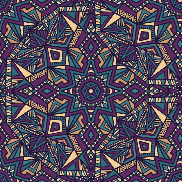 Mandala vetor sem costura de fundo. ornamento tribal. Vetor Premium
