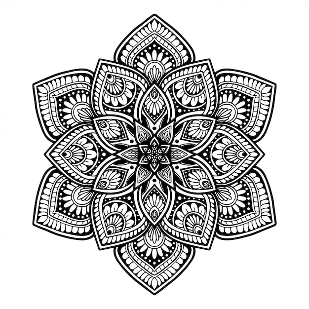 Mandalas livro para colorir, terapia oriental, yoga Vetor Premium