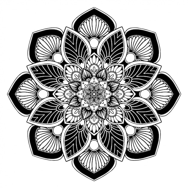 Mandalas livro para colorir, terapia oriental Vetor Premium