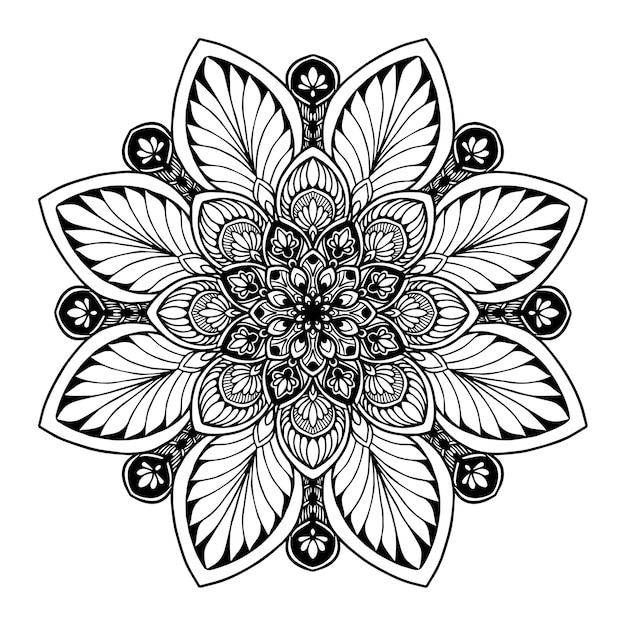 Mandalas para livro de colorir. vetor oriental, padrões de terapia anti-stress. logotipos de ioga vec Vetor Premium