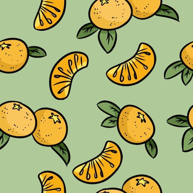 Mandarim doodles padrão sem emenda. tangerinas laranjas Vetor Premium
