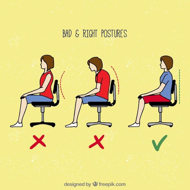 Maneiras erradas e corretas de se sentar Vetor grátis