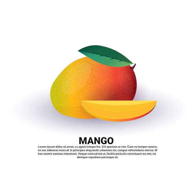 Manga em fundo branco, estilo de vida saudável ou conceito de dieta, logotipo para frutas frescas Vetor Premium