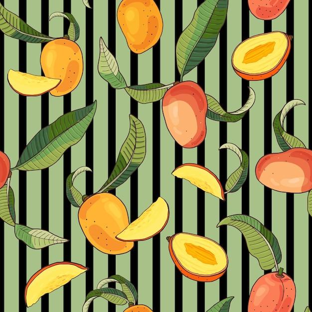 Mango.seamless padrão com frutas tropicais amarelas e vermelhas e peças em fundo listrado verde. ilustração de verão brilhante. Vetor Premium