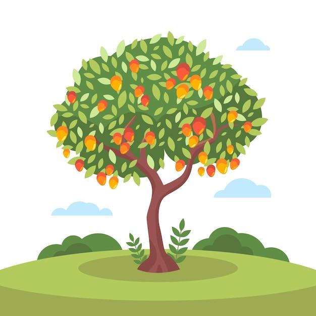 Mangueira de design plano com frutas e folhas Vetor grátis