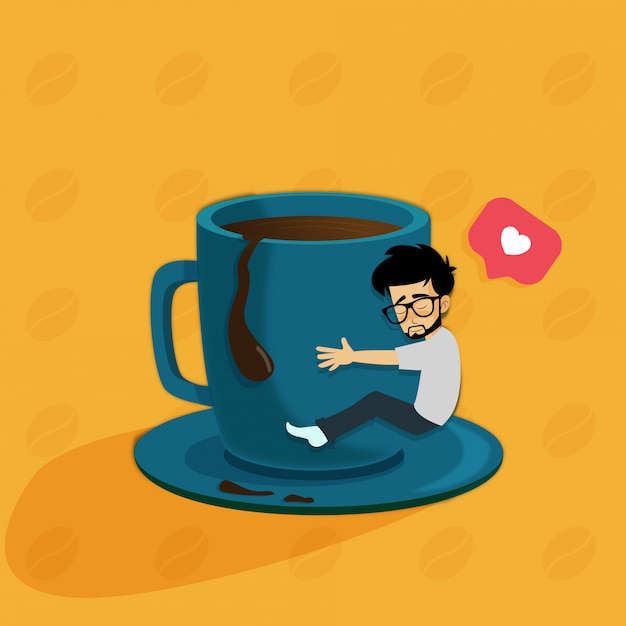 Manhã amor café Vetor Premium