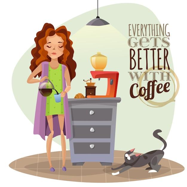 Manhã despertar com xícara de café Vetor grátis